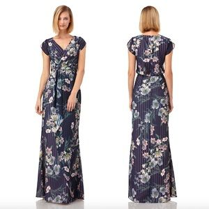 Kay Unger Ricarda Dress Blue Floral Size 10 NWT